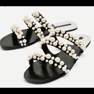 Zara pearl sandals size 10